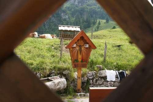 Jesus Cross Alm Alpine Mountains Kampenwand