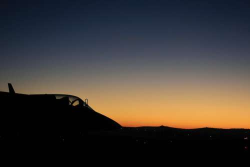 Jet Aircraft Dawn Sky Glow Fighter Silhouette