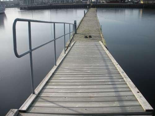 Jetty Wood Planks Grid Metal Brown Water Blue