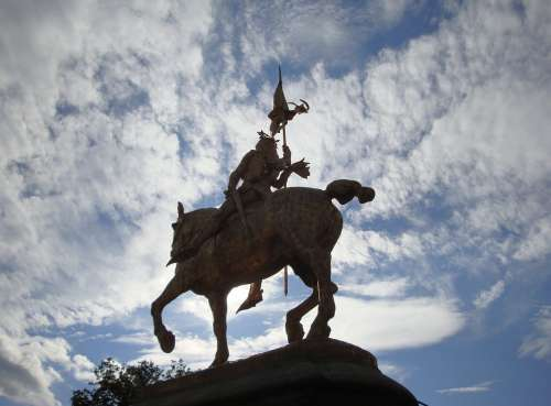 Joan Arc Saint Statue Silhouette Clouds Soldier