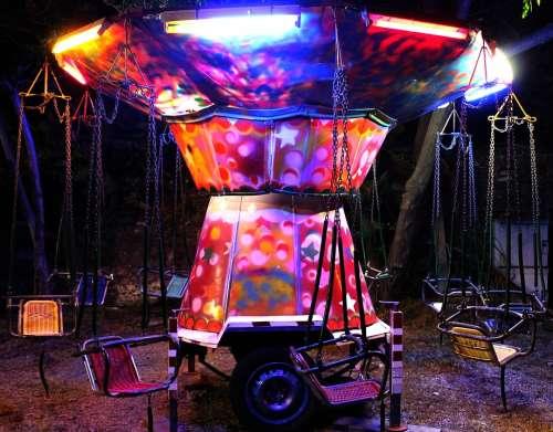 Joust Evening Lights Fun Swing