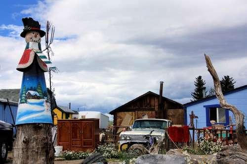 Junk Old Car Vintage Farm Junkyard Scarecrow