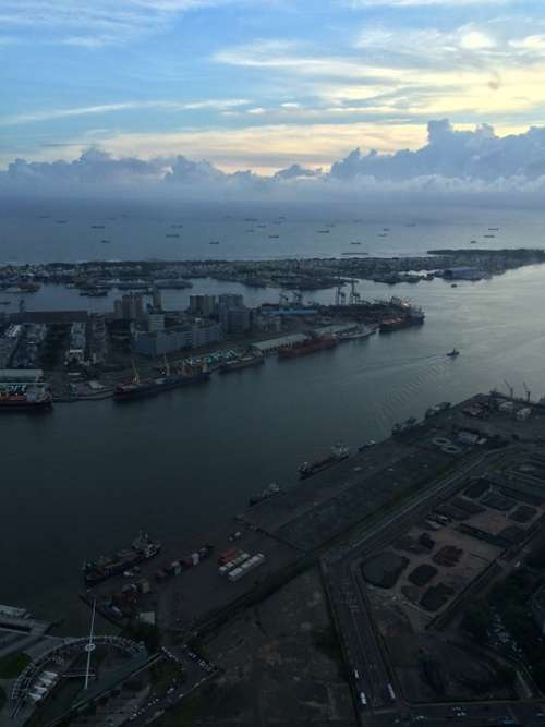 Kaohsiung Port Harbor Sky View City View Taiwan