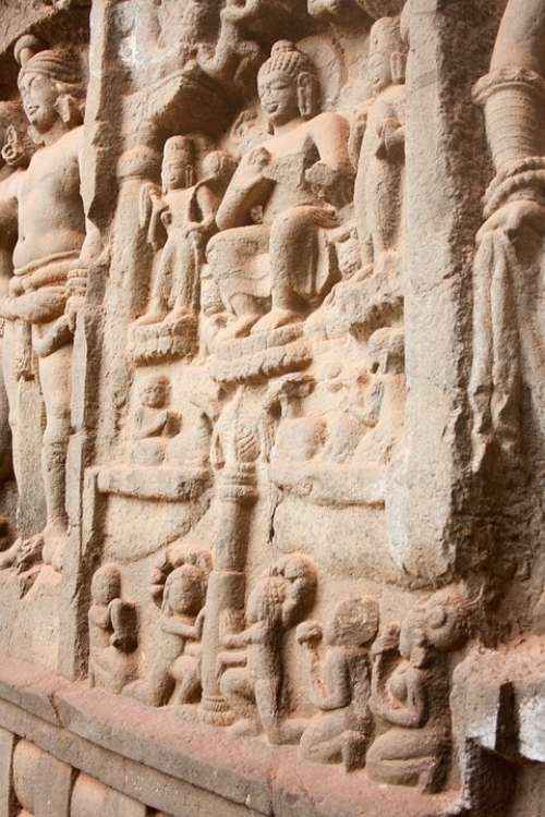 Karla Caves Buddhism Caves Stone Carvings India