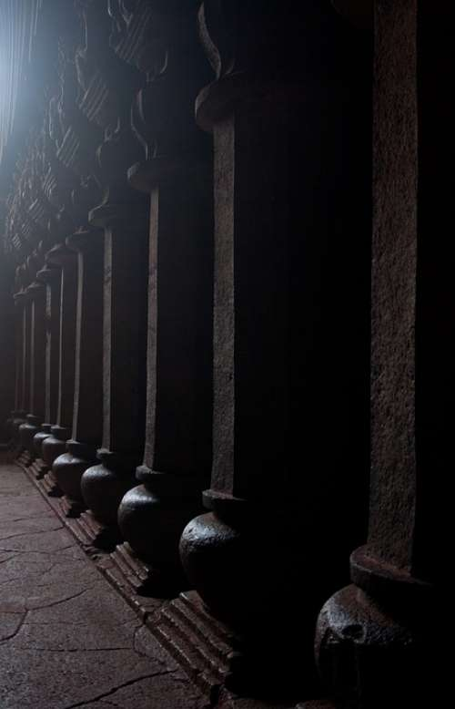 Karla Caves Pillars Buddhism Caves Stone Carvings