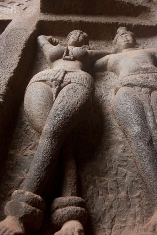 Karla Caves Woman Figure Cave Buddhism Caves