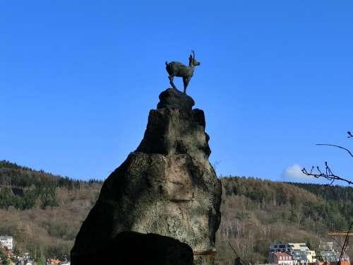 Karlovy Vary Statue Chamois Bronze Rock