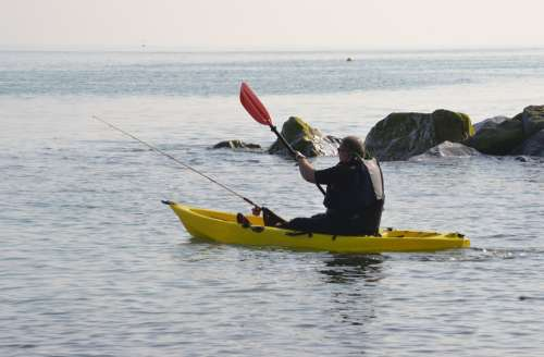 Kayak Canoe Paddles Paddling Fisherman Sea