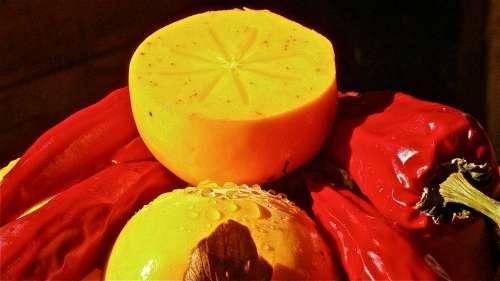 Khaki Diospyros Kaki Fruit Abenaceas Persimmons