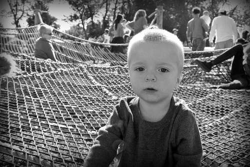 Kid Serious Black And White Boy Childhood Portrait