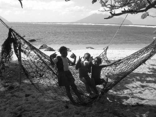 Kids Hammock Play Sea Playing Beach