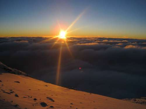 Kilimanjaro Africa Sunsett Clouds Over The Clouds