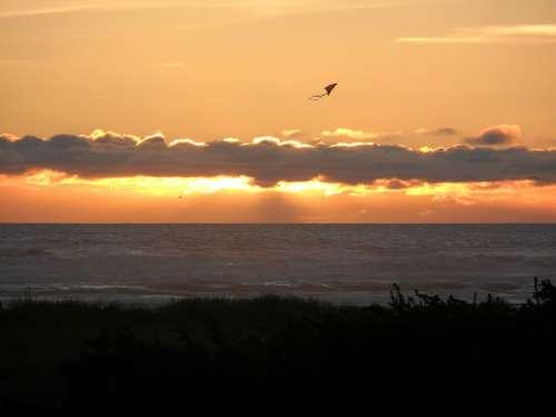 Kite Sunset Ocean Sky Sun Sea Silhouette Water