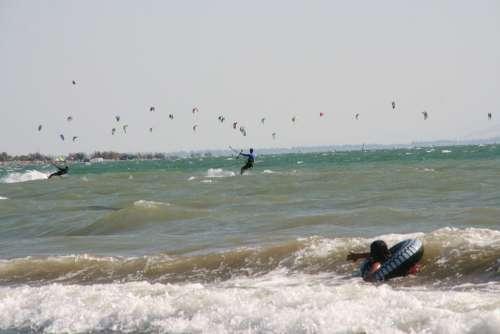 Kiteboarding Sport Ocean Swimming Waves Sea