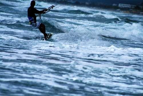 Kitesurf Boarding Kite Wave Sea Sport Extreme
