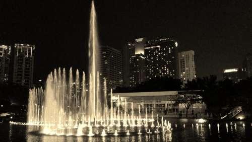Kuala Lumpur Malaysia Lights Fountain Darkness