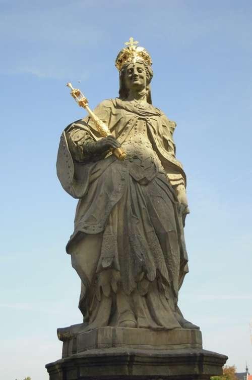 Kunigunde Statue Stone Gold Stone Figure Sculpture