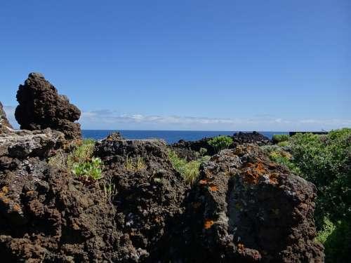 La Palma Canary Island Volcanic Rock Rock Sea