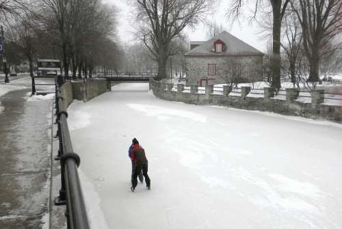 Lachine Canal Canada Couple Skating Frozen Water