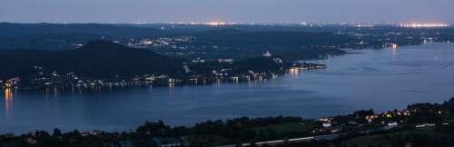 Lago Maggiore Lake Italy Night Lights
