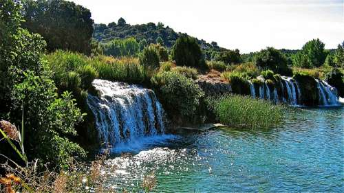 Lagoons Of Ruidera Water Waterfall River Laguna