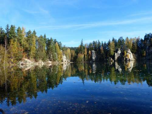 Lake Adrspach Autumn Trees Water Travel Stones