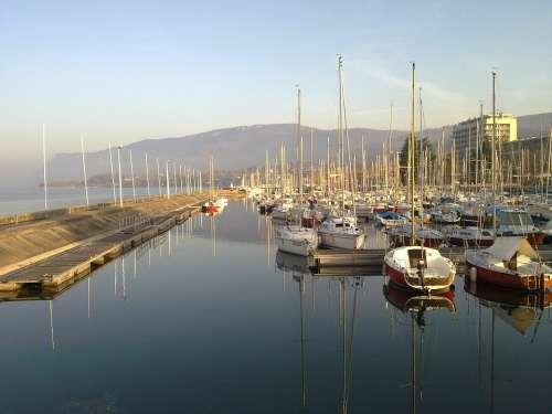 Lake Boat Port Sailboat Savoie Aix Water