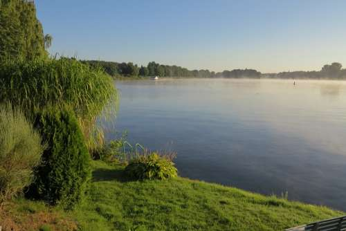 Lake Haze Landscape Nature Water