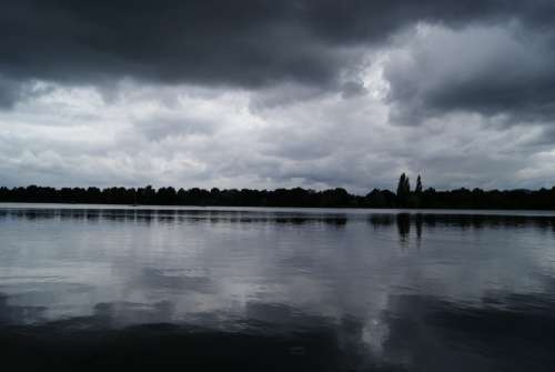 Lake Rain Waters Atmosphere Water Drip Dark