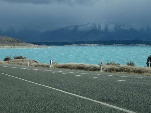 Lake Blue Street New Zealand Mountains Water