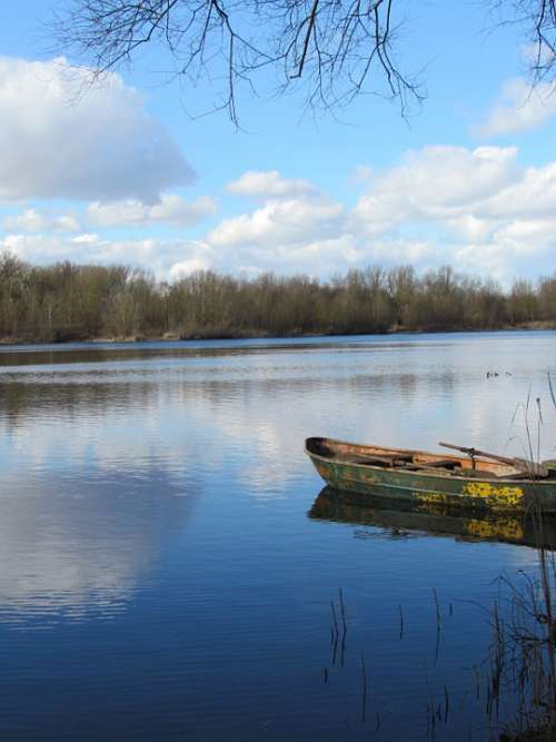 Lake Water Clouds Fishing Lake Mood Mirroring