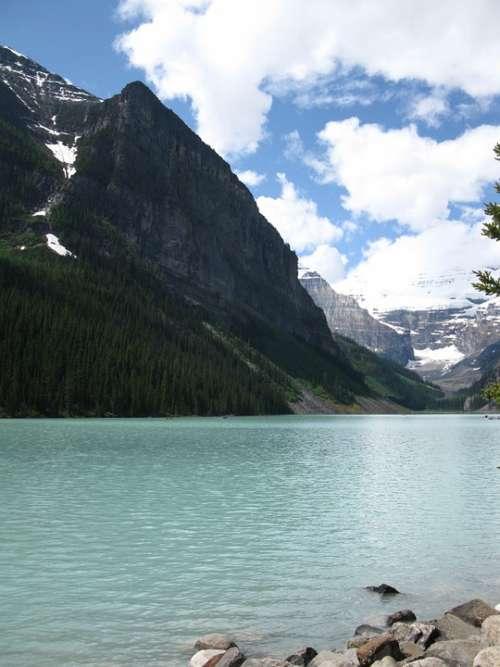 Lake Canada Mountain Mountains Nature Scenery