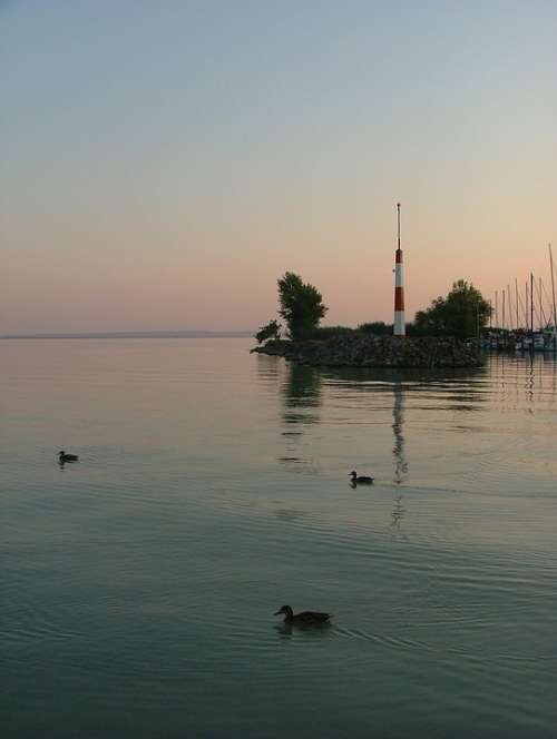 Lake Lake Balaton Water Nature Port Dusk