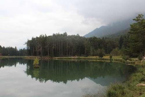 Lake Pond Mirroring Water Landscape Italy