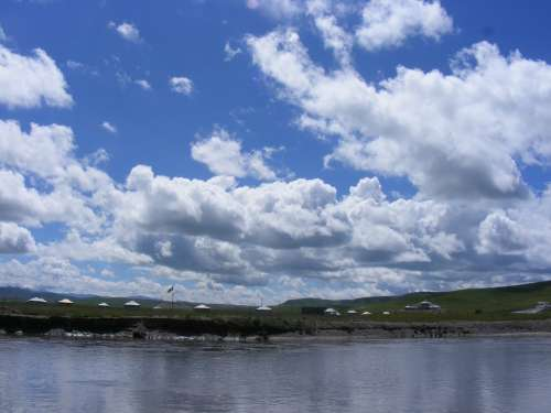 Lake Sky Clouds Tibet Water Nature Landscape
