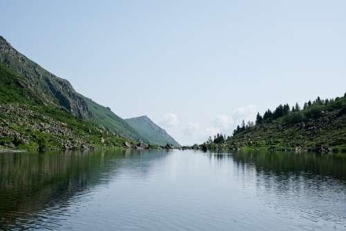 Lake Mountain Sky Blue Green Water Landscape