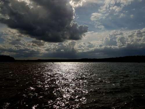 Lake Water Dark Clouds Heaven Mood Dark Sky