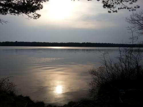 Lake Horizon Sunset Mirroring Water