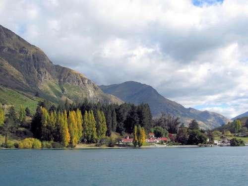 Lake Mountains Trees Scenic Scenery Landscape