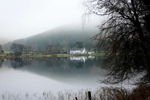 Lake Loch Water House Building Tree Reflections