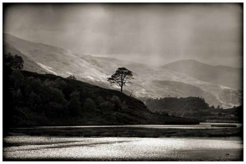 Lake Highlands Scotland Black And White Loch
