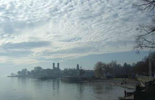 Lake Constance Friedrichshafen Castle Hazy Clouds