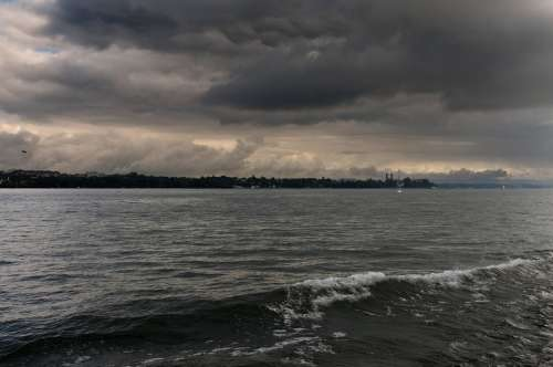 Lake Constance Storm Dramatic Atmosphere Sky