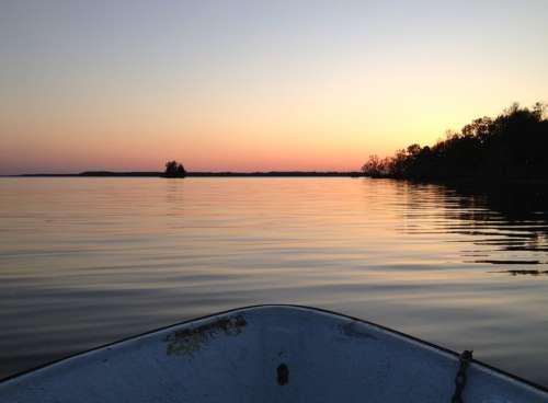 Lake Mälaren Boat Still Water Sunset Nature