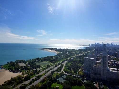 Lake Michigan Chicago Skyline Lake Shore