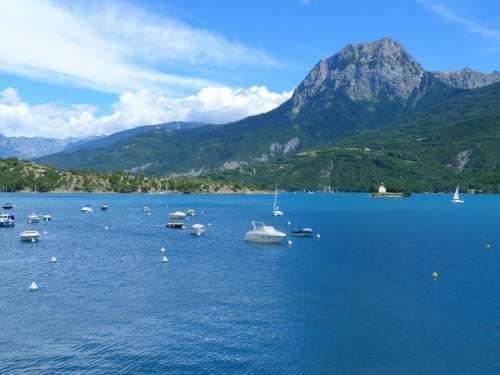 Lake Of Serre Ponçon Lake Landscape Nature Summer