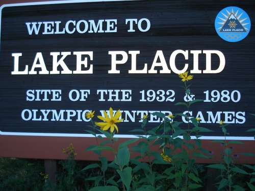 Lake Placid Sign Usa Sports Olympics Ski