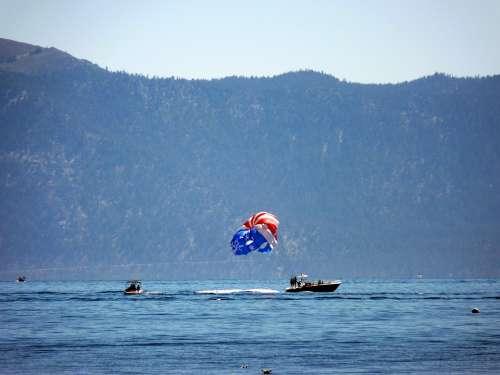 Lake Tahoe Truckee Beach Sandy Beach Parasailing