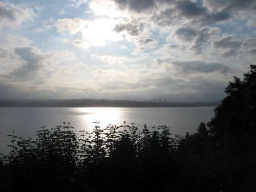 Lake Washington Sun Landscape Scenic Vista Water