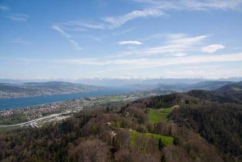 Lake Zurich Seen From Uetliberg Out Switzerland